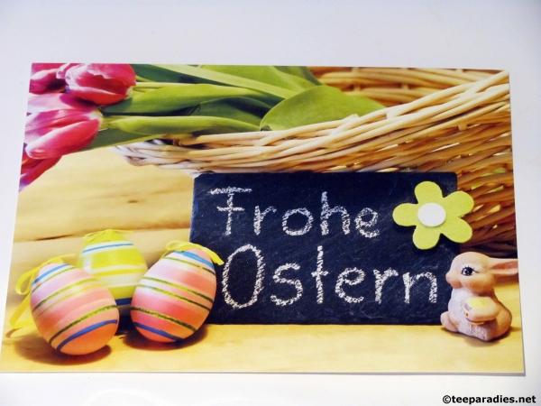 frohe ostern karte Teeparadies.  Osterkarte mit Text frohe Ostern, Ostern feiern